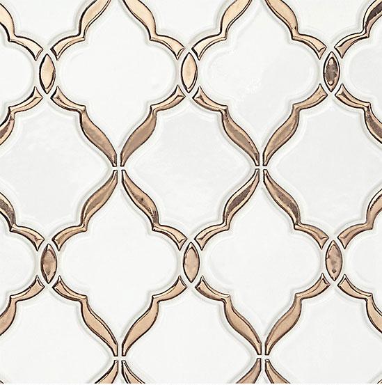 Piastrella Bagno in Ceramica Bianca e Oro