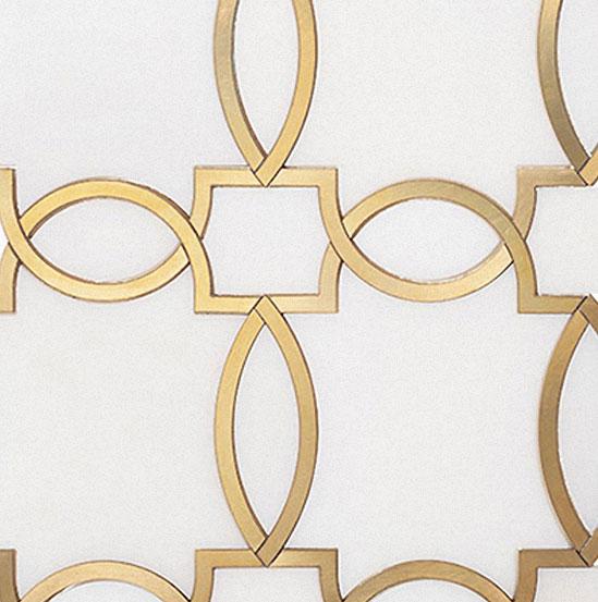 Piastrella in Marmo Bianco e Inserti Oro