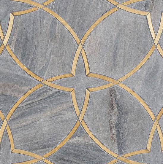 Piastrella Bagno Marmo Grigio e Oro